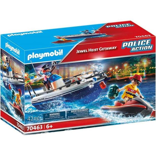 Playmobil Police Action Αστυνομικό Ταχύπλοο & Ληστής Με Jet Ski (70463)