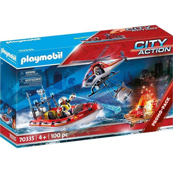 Playmobil City Action Πυροσβεστικό Σκάφος & Ελικόπτερο (70335)