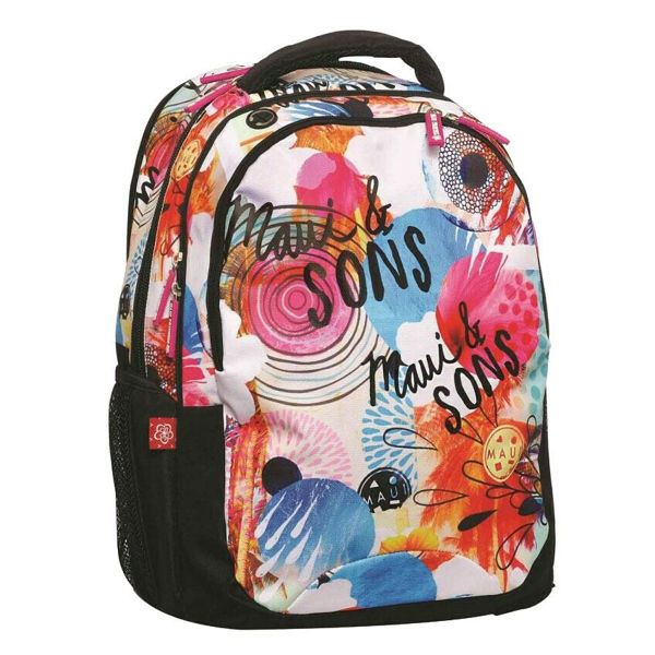 Maui & Sons Τσάντα Δημοτικού Round Flowers (339-64031)