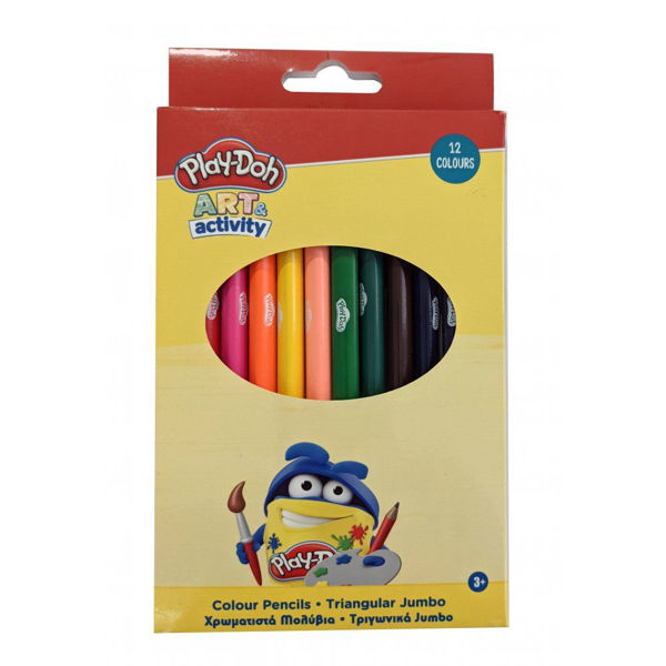 Play-Doh Art Activity Χρωματιστά Μολύβια Τριγωνικά Jumbo 12τεμ (320-20000)